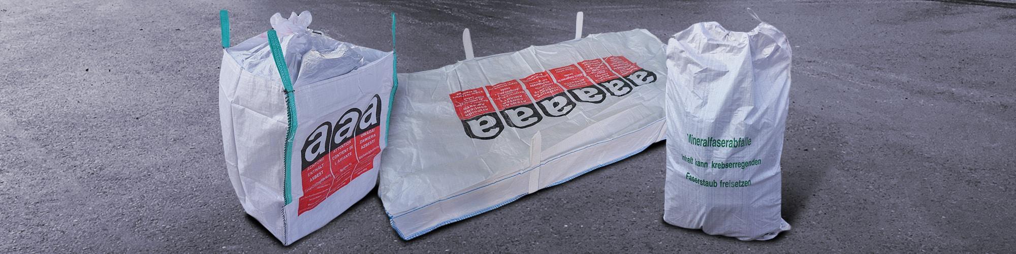 Asbestsäcke von Bloching – Entsorgungsbetrieb