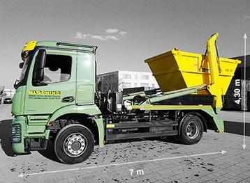 Absetzkipper für Container mit einem zulässigen Gesamtgewicht von 18 Tonnen